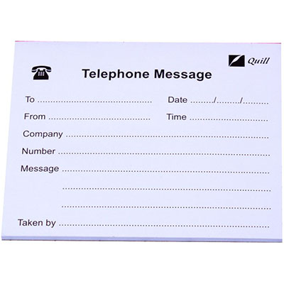Telephone Message Pad 100 X 115 White 50lf Skout Office