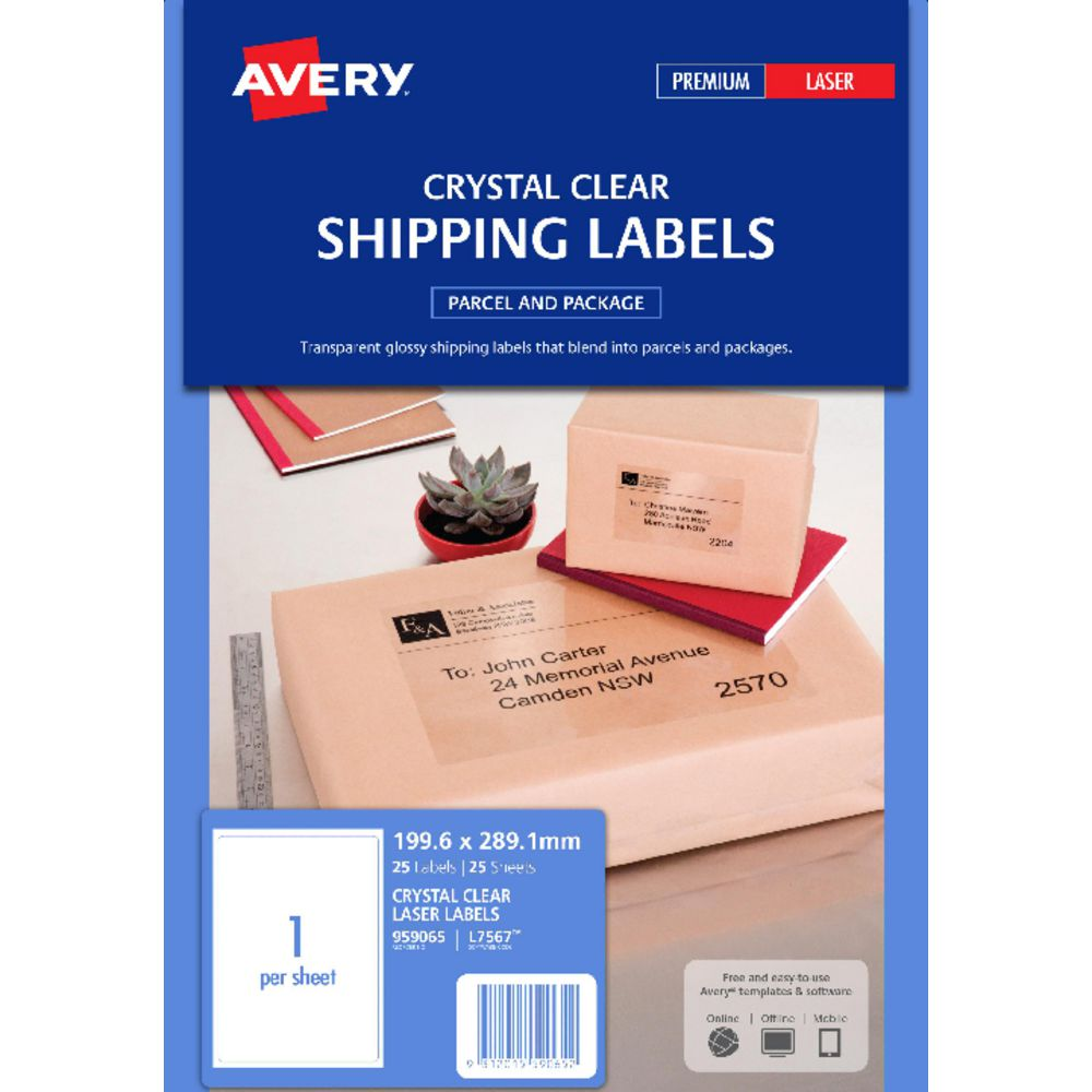 label avery laser l7567 shipping clear 1up 199 6x289 1 pk25 skout