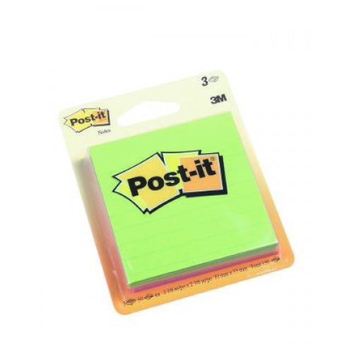 Post- It Notes 6301 73x73 Ruled Assorted Ultra Pk3