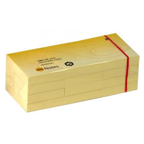 Stick On Note Marbig 38x50mm Yellow Pack 12