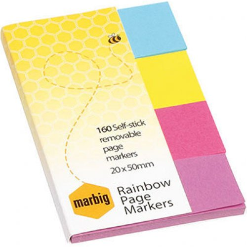 Paper Note Marbig Pagemarkers Brilliant 20 x 50mm 4 Colours 160 Sheets