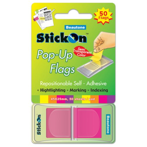 Stick On Flags - Beautone - Pop-up - 45x25mm - 50 Sheet Pad - Magenta