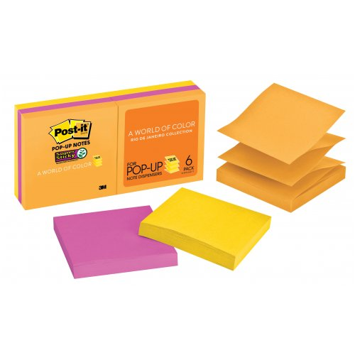 Post-it Notes - Super Sticky Pop Up -  R330-6SSUC Rio 76x76mm - 6 Pack