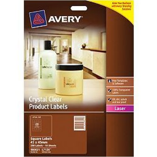 Labels Avery L7126 Crystal Clear Square 45x45mm (10 Sheets)