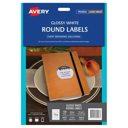 Label Avery L7100 Round Gloss 12 Up 60mm (Pack of 10)