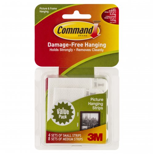 Picture Hanging Strip Command 4 Sml 8 Med Adhesive 17203