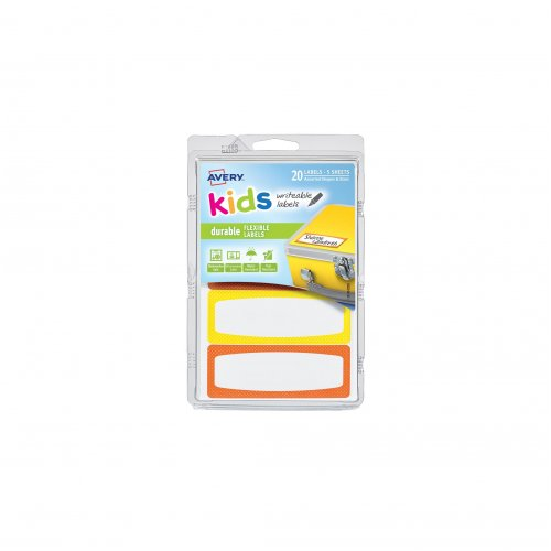 Labels Avery Writable 89x32mm Kids ID Yellow/Orange (Pack of 20)