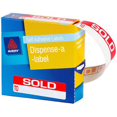Label Avery Dispenser 19x64mm Sold To (Box of 125)