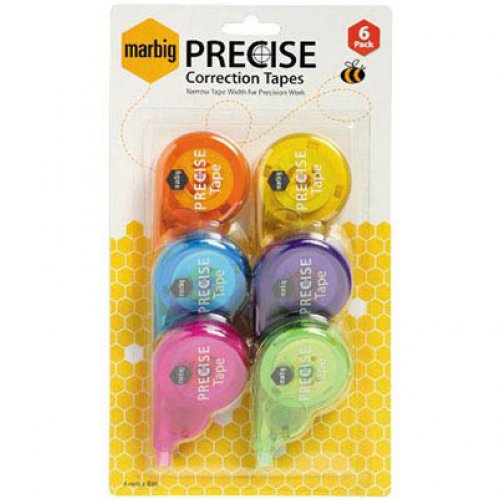 Correction Tape - Marbig - 4mm x 8m - Precise - Pack of 6