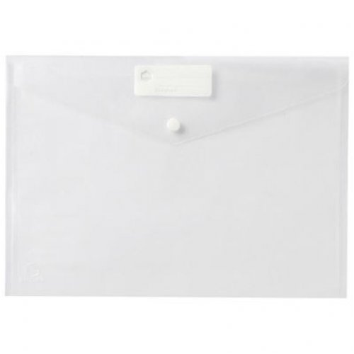Document Wallet - Marbig - A4 - Button - Clear