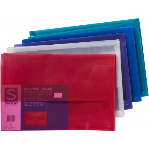 Document Wallet - Sovereign - FC - PP with Gusset Assorted Colours (10 Pack)