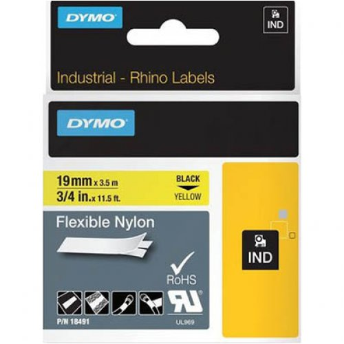 Label Tape - Rhino - 19mm - Flexible Nylon - Black on Yellow